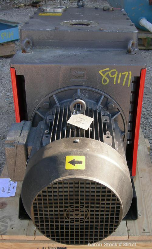USED: Edwards two stage rotary vane vacuum pump, model E1M275, carbon steel. Rated 172 cfm. Driven by an 8.5 kW (10 hp), 3/6...