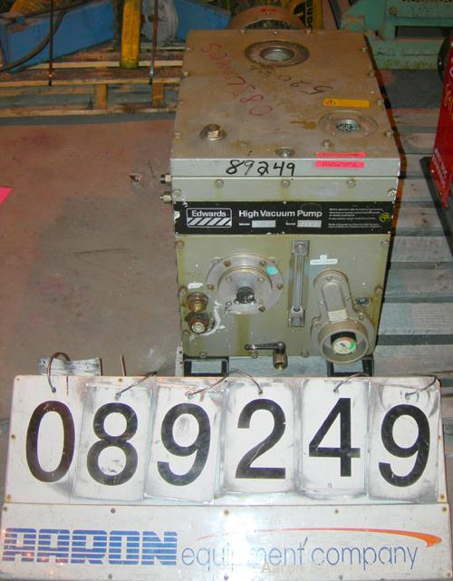 Used- Edwards Two Stage Rotary Vane Vacuum Pump, Model E2M275, Carbon Steel. Rated 172 cfm. Driven by an 8.5 kW (10 hp), 3/6...