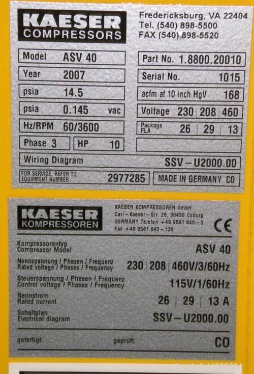 """Used- Kaeser Rotary Screw Vacuum Package, Model ASV 40. Rated 168 ACFM at 10"""" HGV. Air cooled. Driven by a 7.5 kw (10 hp), 3..."""