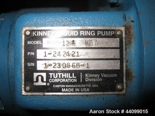 "Used- Kinney 2 Stage Liquid Ring Vacuum Pump, Model KLRC-125 KBA, Carbon Steel. Approximate 125 cfm at 1750 rpm. 1-1/2"" Inle..."