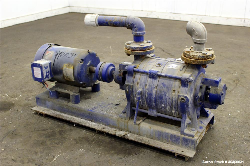 "Used- Kinney Liquid Ring Vacuum Pump, Model KLRC-75-KBA, Carbon Steel. Approximately 75 CFM at 1750 rpm. 1-1/2"" Inlet/outlet..."