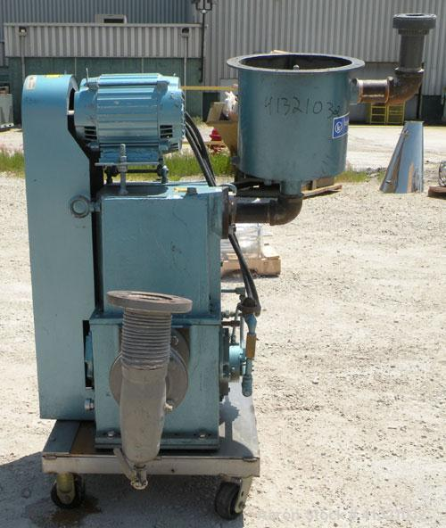 "Used- Kinney Rotary Piston, Oil Sealed, Vacuum Pump, Model KT-150C, Carbon Steel. Approximately 150 cfm at 1055 rpm. 3"" inle..."