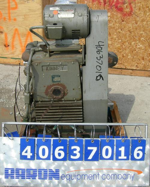 "Used- Kinney Rotary Piston Vacuum Pump, model KTC-112. Approximately 107 cfm at 1055 rpm. 2"" inlet/outlet. Driven by a 7.5 h..."