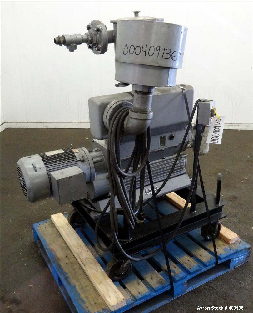 Used- Leybold-Heraeus Two Stage Rotary Piston Vacuum Pump, 117.8 CFM, Model DK200, Carbon Steel. Driven by a 7.5hp, 3/60/230...