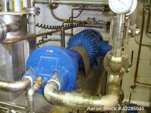 Used- Nash Liquid Ring Vacuum Pump, model AHF-120, stainless steel. Rated 120 cfm. Driven by a 7.5 hp XP motor. Mounted on a...