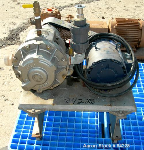"USED: Nash Hytor liquid ring vacuum pump, model AL574, carbon steel. Approx capacity 30 cfm at 21"" hg at 1740 rpm. 1-1/2"" NP..."