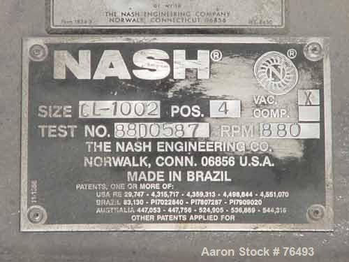 "Used- Nash Liquid Ring Vacuum Pump, Model CL-1002, Cast Iron. Capacity 1060 cfm at 15"" hg/870 cfm at 26"" hg. 5"" Inlet, 4"" ou..."