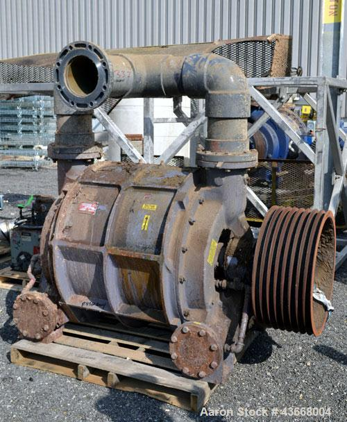 "Used- Nash Liquid Ring Vacuum Pump, Model CL3002, Carbon Steel. Approximate 2590 CFM at 24"" Hg. at 530 rpm. Driven by a 200h..."
