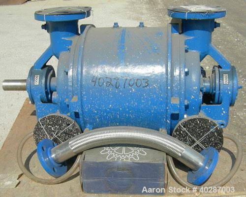 """Used- Nash liquid ring vacuum pump, model CL-702.  Approximate capacity 700 cfm, 24"""" HG vacuum.  (2) 4 1/2"""" inlets/outlets. ..."""