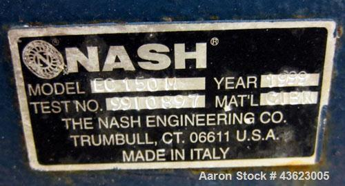 """Used- Nash Vacuum Pump, Model EC150M, Carbon Steel. Approximate 100 cfm. 1-1/2"""" Inlet/outlet. Driven by a 7.5hp, 3/60/230/46..."""