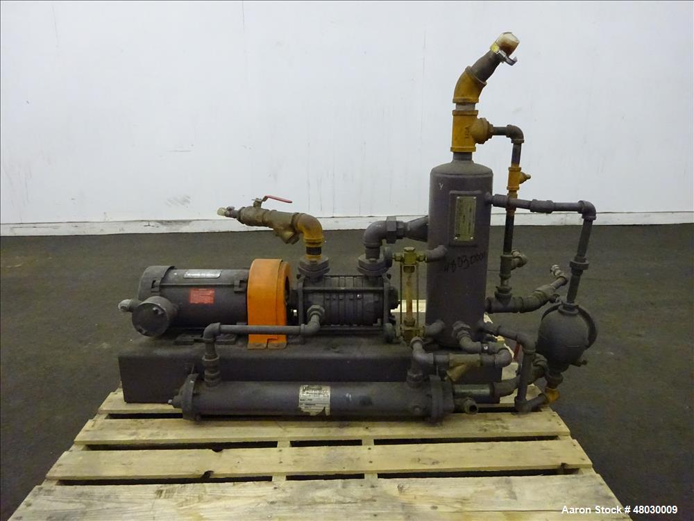 Used- Nash Two Stage Liquid Ring Vacuum Pump Model ET32030, Carbon Steel.