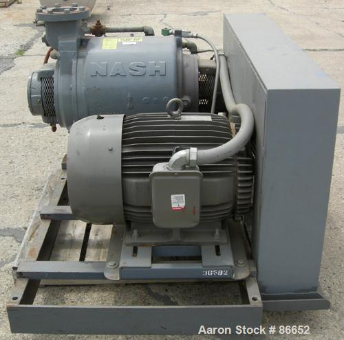 USED: Nash Liquid Ring Vacuum Pump, Model SC7, cast iron construction. Approximate capacity 700 cfm at 880 rpm. Driven by a ...