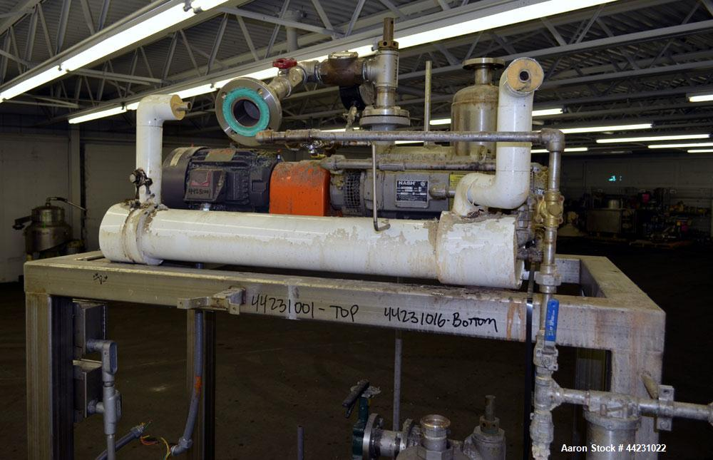 Used- Nash Two Stage Liquid Ring Vacuum Pump, Model TCM1/5, Carbon Steel. Approximate 100 CFM. Driven by a 10hp, 3/60/460 vo...