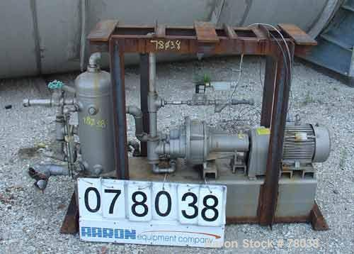 """USED: Nash liquid ring vacuum pump, size AHF-50S, stainless steel construction. Flow rate of 1-1/2 gpm, in and outlet 2"""" and..."""