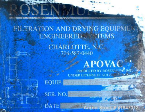 Used- Apovac Vacuum System consisting of: (1) Vacuum pump, driven by a 30 hp motor. (1) Industrial Piping heat exchanger, (1...