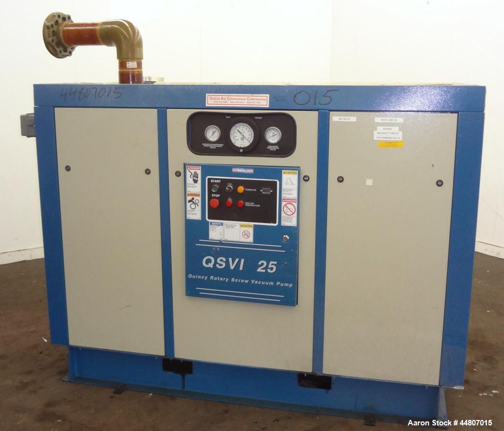 Used- Quincy Compressor QSVI Series Rotary Screw Vacuum Pump, Model QSVI25ACN3A. Air cooled, nominal capacity 365 ACFM, base...