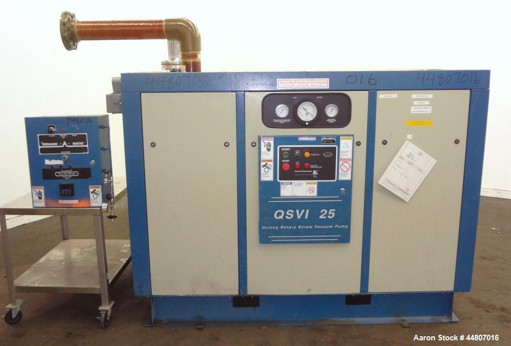 Used- Quincy Compressor QSVI Series Rotary Screw Vacuum Pump, Model QSVI25ACN3A. Air cooled, nominal capacity 365 ACFM, base...