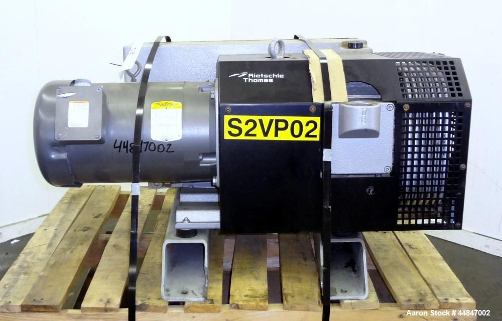 Used- Rietschle VacFox Series Rotary Vane Vacuum Pump, Type VC300, Carbon Steel.  Rated 360 cubic meters an hour (211 cfm) a...