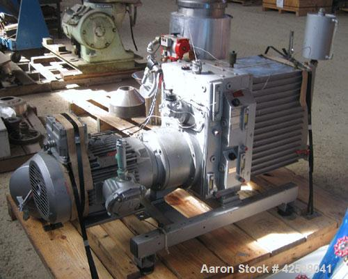 Used- Rietschle Oil Seal Vacuum Pump, type VWZ402-16M, carbon steel. Approximately 283 cfm at 0.375 torr- 0.5 mbar- 29.906''...