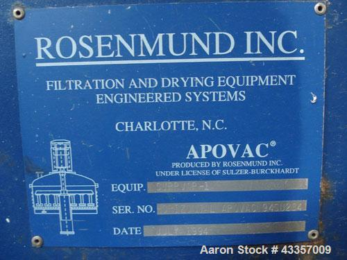 Used- Rosenmund APOVAC Solvent Recovery System, 316 Stainless Steel. Consists of model PMZU 2510 D8 Sulzer Burckhardt liquid...