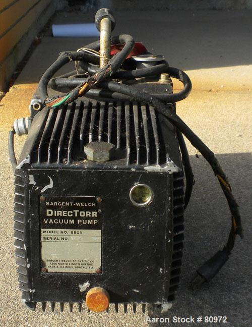 Used- Sargent-Welch DirecTorr Vacuum Pump, Model 8806, Rated 2 CFM. Driven by a 1/3 HP, 1/60/115/230 Volt, 1725 RPM motor.