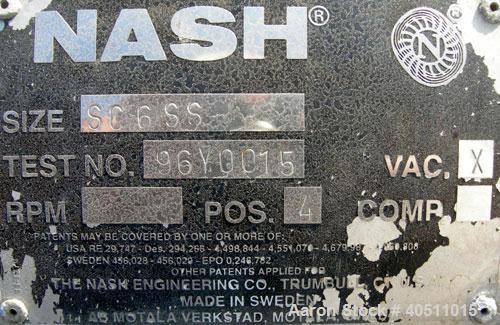 """Used- Nash Single Stage Liquid Ring Vacuum Pump, size SC6SS, stainless steel. 11 1/4"""" O.D. flanged inlet with a 5 3/4"""" x 5 3..."""