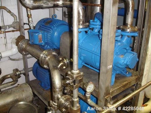 "Used- Sihi Liquid Ring Vacuum Pump, model LPH-54312, stainless steel. 2"" inlet/outlet. Approximately 102 cfm at 20"" HG. Driv..."