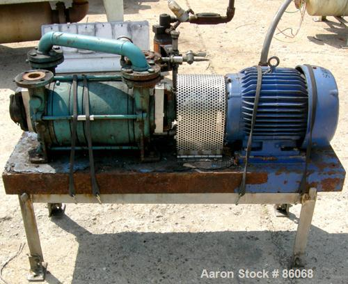 """USED: Sihi liquid ring vacuum pump, model LPH45317, carbon steel. 1-1/2"""" inlet/outlet with manifold. Approx cfm 105 at 4"""" to..."""