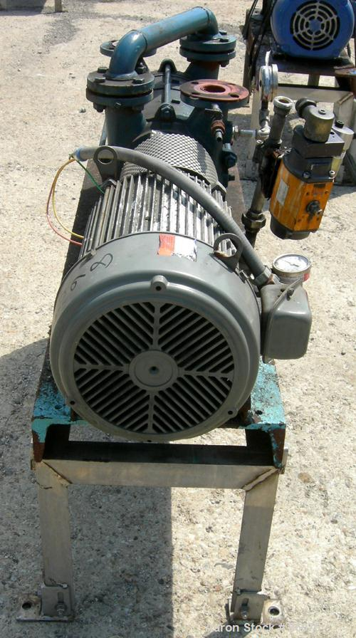 "Used- Sihi Liquid Ring Vacuum Pump, Model LPH45317, Carbon Steel. 1 1/2"" inlet/outlet with manifold. Approximate 105 CFM at ..."