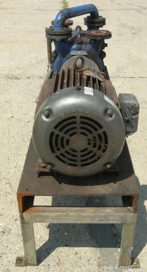 "USED: Sihi liquid ring vacuum pump, model LPHR55320, carbon steel. 2"" inlet/outlet with manifold. Approximate cfm 200 at 4"" ..."