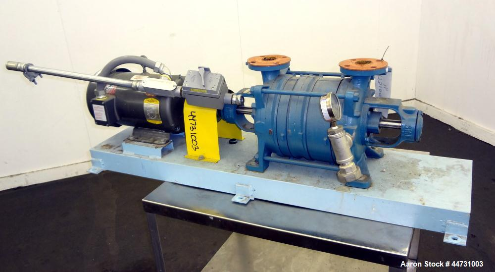 "Used- Sihi Liquid Ring Vacuum Pump, Model LPHY 3708 BN115012, Carbon Steel. 1-1/2"" Inlet/outlet. Approximately 44 cfm at 20""..."