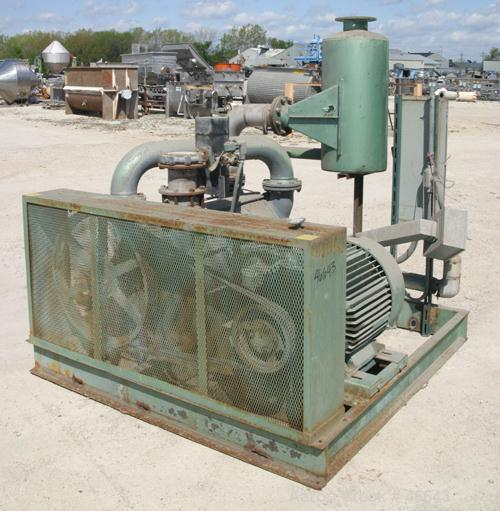 """Used- SIHI Liquid Ring Vacuum Pump, Model LPHY85353. 6"""" x 6"""" Stainless steel. Base mounted, 125 hp belt driven, 460V/1780 rp..."""