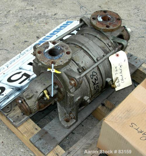 """Used- Sihi Liquid Rind Vacuum Pump, Carbon Steel. 1-1/2"""" inlet/outlet. Unit requires motor and base."""