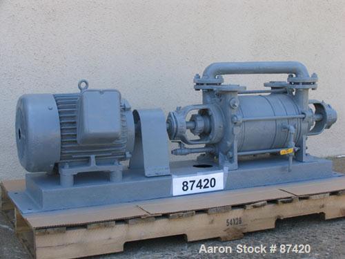USED: SIHI vacuum pump, 2 stage, water seal, 10 hp. Packed shaft seal.