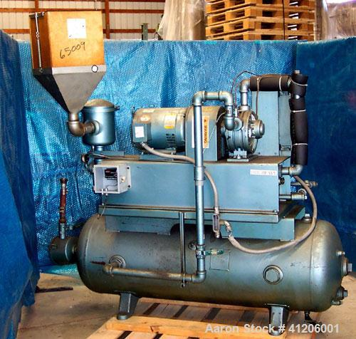 Used- Squire Cogswell Rotary Vane Vacuum Pump, Approximate capacity 60 CFM, Carbon Steel. Serial #AAF09019CQ. Driven by a 3 ...