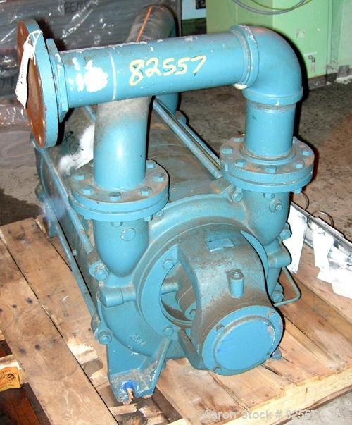 """USED: Squire Cogswell 2 stage liquid ring vacuum pump, model P740/FB1119-275A14M, carbon steel. 4"""" inlet/outlet. Approx 545 ..."""