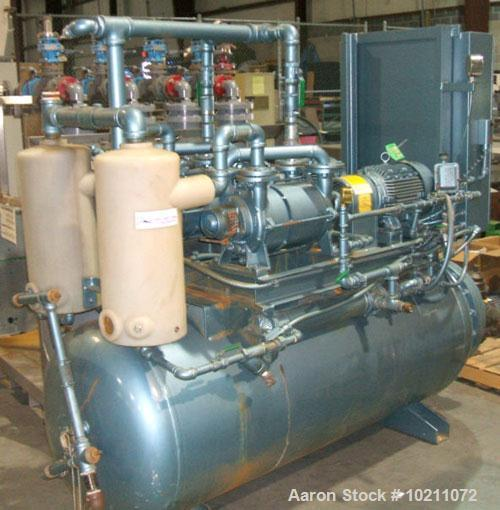 Used-Squire-Cogswell Duplex Horizontal Tank Mounted Vacuum Pump System, Model PTM-RVA16-1750-2-H. (2) Siemens 10 hp electric...