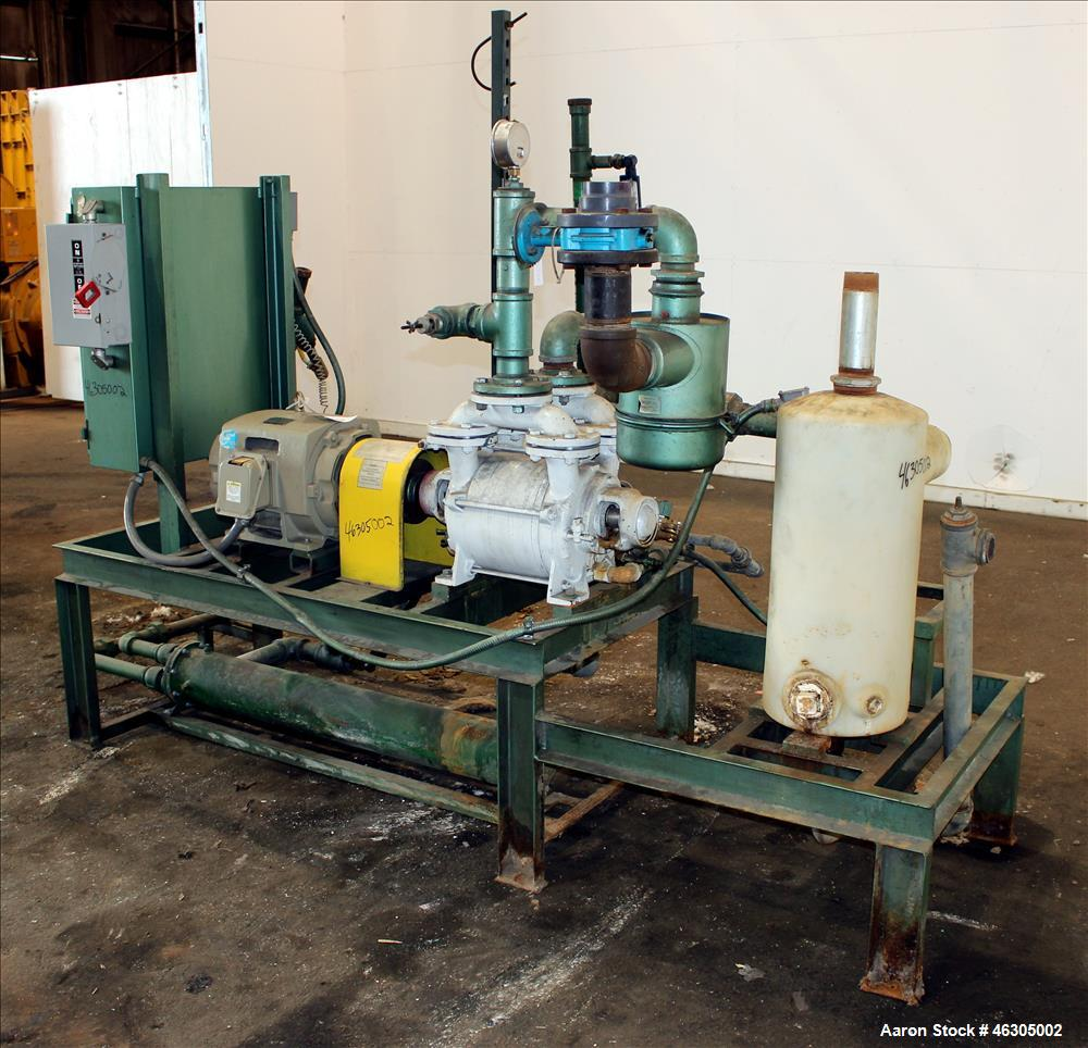 Used- Squire Cogswell Vacuum Pump System consisting of (1) Squire Cogswell liquid ring vacuum pump, model RVM 19 UG, carbon ...