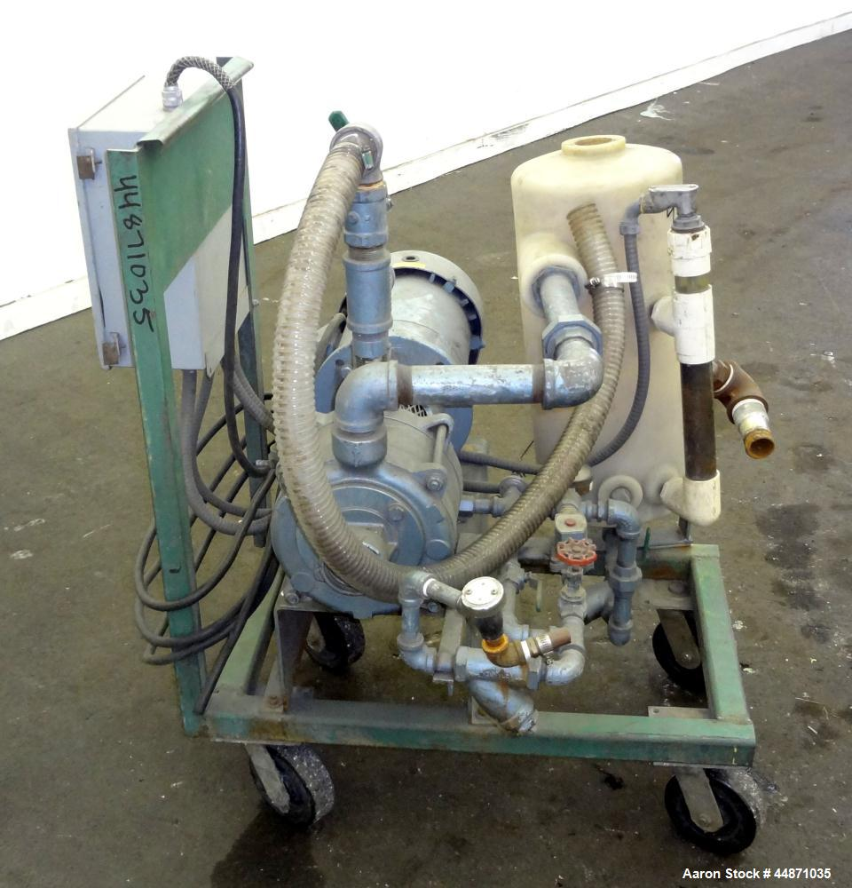 Used- Squire Cogswell Liquid Ring Vacuum Pump, Size RVM 702, Carbon Steel.  Driven by an approximately 5 hp motor, no tag. M...