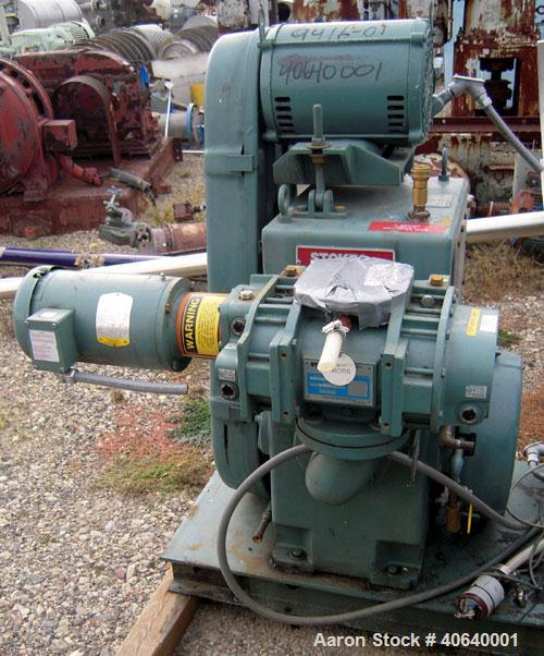 """Used- Stokes Microvac Rotary Piston Vacuum Pump, model 212-11, carbon steel. Approximately 150 cfm. 3"""" inlet, 2"""" outlet. Dri..."""