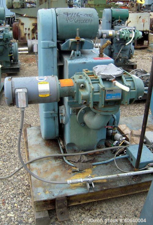 "Used- Stokes Microvac Rotary Piston Vacuum Pump, model 212-11, carbon steel. Approximately 150 cfm. 3"" inlet, 2"" outlet. Dri..."