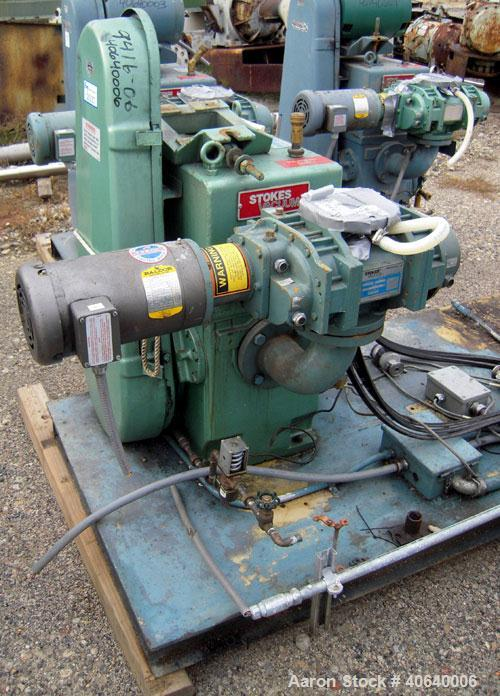 """Used- Stokes Microvac Rotary Piston Vacuum Pump, model 212-11, carbon steel. Approximately 150 cfm. 3"""" inlet, 2"""" outlet. Req..."""