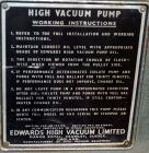 Used- Edwards Speedivac High Vacuum Rotary Pump, Model ED250. Approximate 8.7 cfm, driven by a 3/4 hp, 1/60/115/230 volt, 17...
