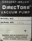 Used- Sargent-Welch DirecTorr Vacuum Pump, Model 8821A, Rated 7 CFM. Driven by a 1/2 HP, 1/60/115/208-230 Volt, 1725 RPM mot...