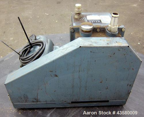 Used- Welch Duo-Seal 2 Stage Rotary Vane Vacuum Pump, Model 1402, Carbon Steel. Approximate 5.6 cfm. Driven by an approximat...