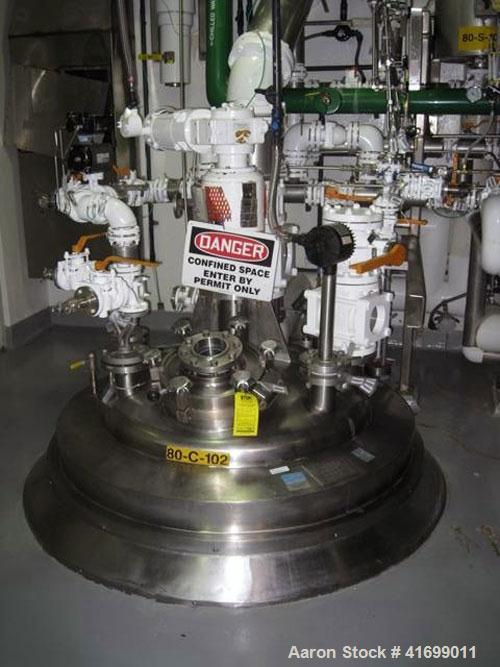 "Used- Feldmeier Reactor, 250 Gallon, Hastelloy C276, Vertical. 44"" diameter x 28"" straight side, dished top, coned bottom. I..."