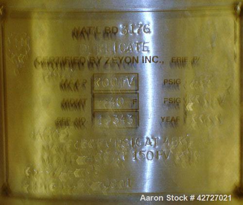"Used- Zeyon Hydrogenation Reactor, 40 Liter (10.5 Gallon), Hastelloy C.  16"" Diameter x 18"" straight side, flat bolt on top,..."
