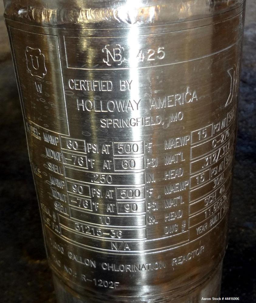 "Unused- Holloway America Reactor, 1000 Gallon, Hastelloy C-276, Vertical. Approximate 62"" Diameter x 70"" straight side, dish..."