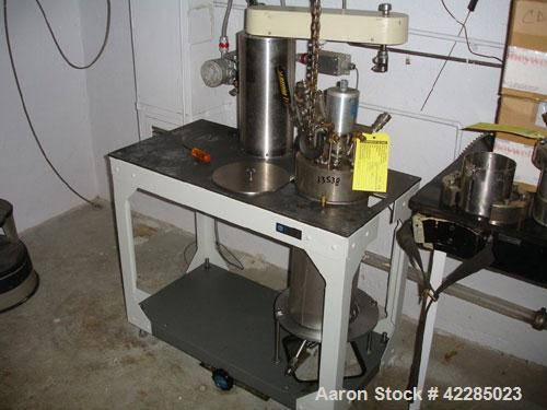 Used- Parr Reactor, 2 Gallon, Hastelloy C. Internal rated 1900 psi at 350 deg.f.. Jacketed, no rating. Mounted on a on stand...