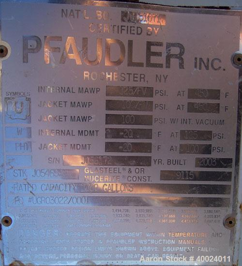 Used- Pfaudler K Series Glass Lined Reactor, 1000 gallon, 9115 blue glass. Approximately 5' diameter x 6' straight side, dis...